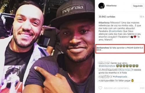 Após um ano, ex-jogador volta a cobrar dívida de Belo através do Instagram