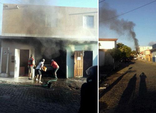 Morador se desespera ao ver o carro pegando fogo dentro da garagem