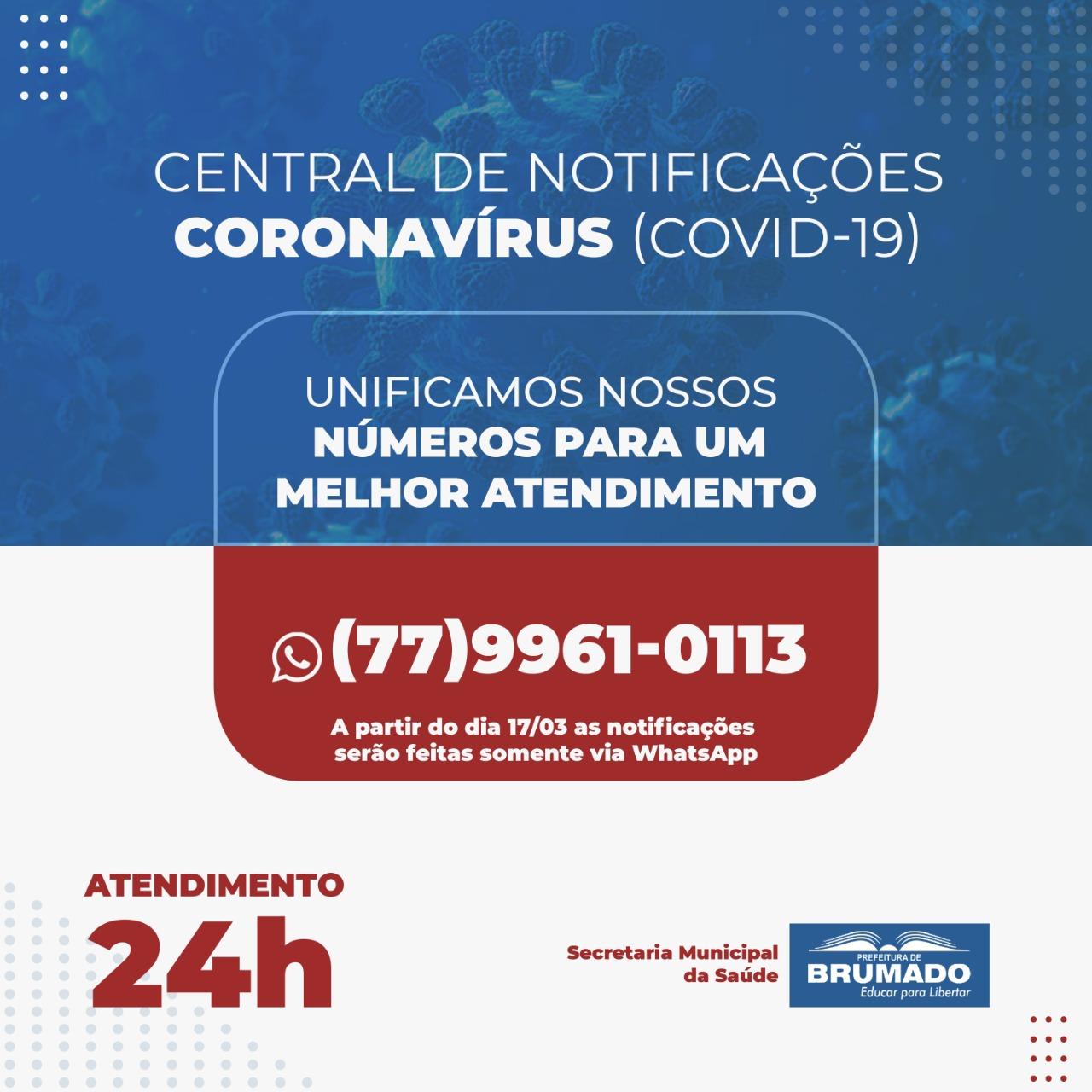 Brumado: Central de Notificações Covid-19 tem números unificados para melhor atendimento