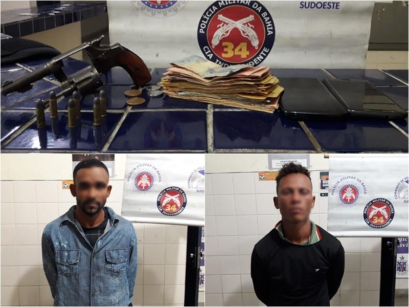 Dois homens são presos em Brumado pouco depois de roubar correspondente bancário em Livramento