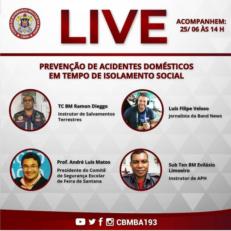 Corpo de Bombeiros da Bahia fará  live sobre acidentes domésticos
