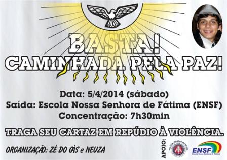 Em repúdio a violência, pais do estudante Charles Müller realizará caminhada pela Paz , sábado (05)