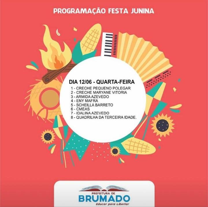 Confira a programação das Quadrilhas Juninas das Escolas de Brumado