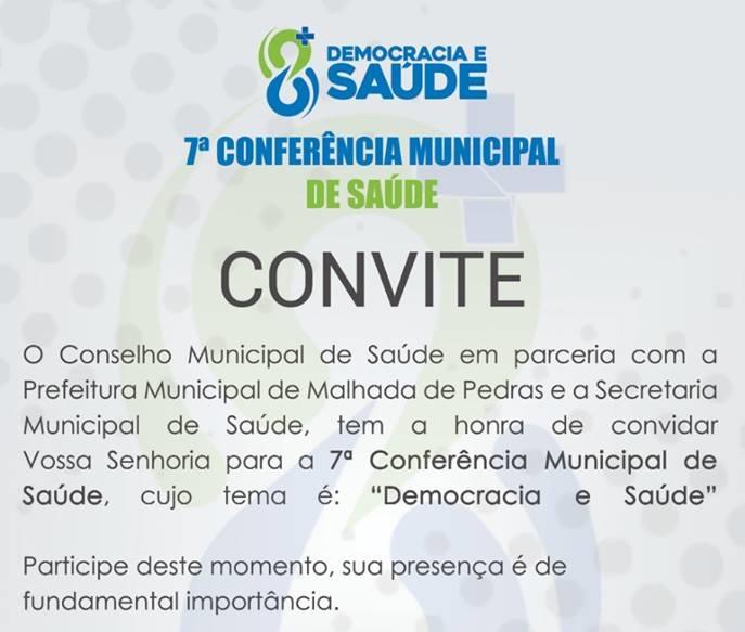 7° Conferência Municipal de Saúde será realizada em Malhada de Pedras