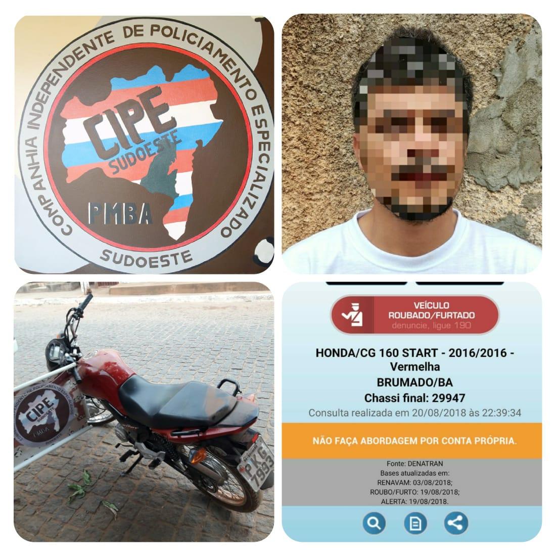 Motocicleta com restrição de roubo e placa de Brumado é recuperada pela CIPE Sudoeste em Caculé