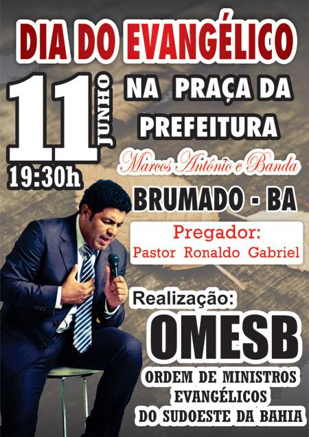 Dia 11 de Junho acontecerá o Dia dos Evangélicos em Brumado