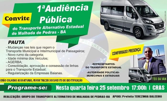 1ª Audiência Pública do Transporte Alternativo Estadual de Malhada de Pedras acontece amanhã, 25