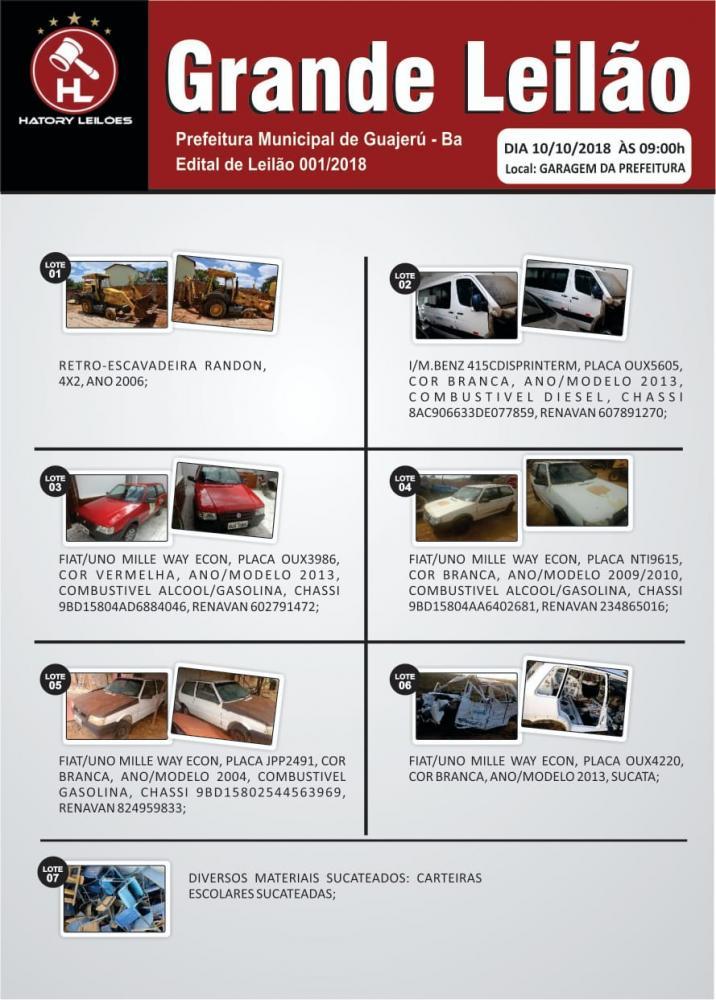 Prefeitura de Guajeru realizará leilão de veículos e materiais