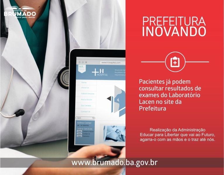 Usuários do Sistema de Saúde já podem consultar os resultados de exames laboratoriais do LACEN pelo site oficial da Prefeitura de Brumado