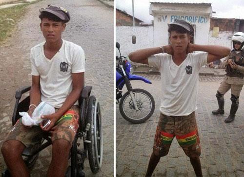 """Feira de Santana: Polícia Militar faz """"milagre"""" e """"cura"""" deficiente que vendia drogas em cadeira de rodas"""