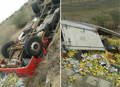 Caminhão carregado de maracujá tomba na BA - 162, próximo a Sussuarana