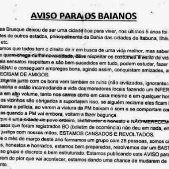 Vale do Itajai: policia civil investiga carta que ameaça baianos