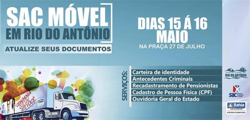 Carreta do SAC Móvel oferecerá serviços de emissão de documentos aos cidadãos em Rio do Antônio
