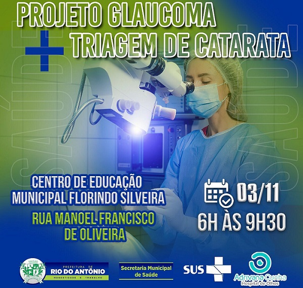 Projeto Glaucoma acontece em Rio do Antônio no próximo dia 03; confira