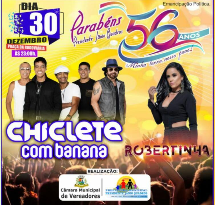 Show de Chiclete com Banana hoje em Jânio Quadros promete atrair grande público