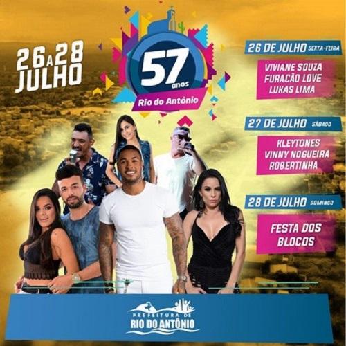 Entre os dias 26 a 28 de Julho prefeitura de Rio do Antônio comemora aniversário da cidade; veja programação