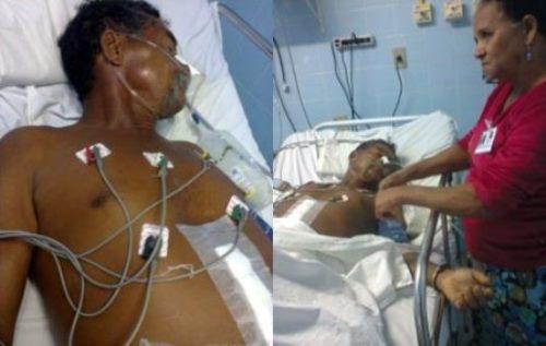 Idoso é alvejado por policiais com cinco tiros e mesmo em estado grave é mantido algemado no leito do hospital