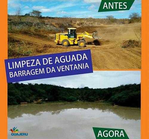 Guajeru: prefeitura realiza limpeza de Aguada e reservátorios começam a ser cheios com a chuva