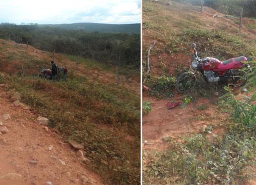 Motociclista perde o controle da moto e cai em ribanceira