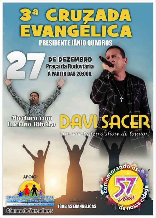 3ª Cruzada Evangélica de Presidente Jânio Quadros acontece amanhã, 27