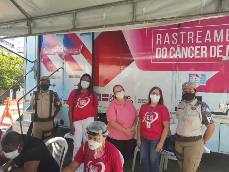 Outubro Rosa: 360 mamografias são realizadas em parceria entre PM e Sesab