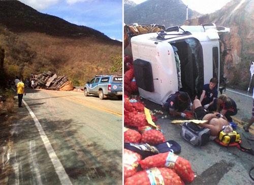 A vida por um triz: Caminhão perde o freio e tomba na Serra das Almas