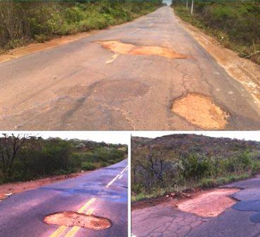 Paulo Souto mostra em sua Fan Page situação da rodovia Caetité/Igaporã