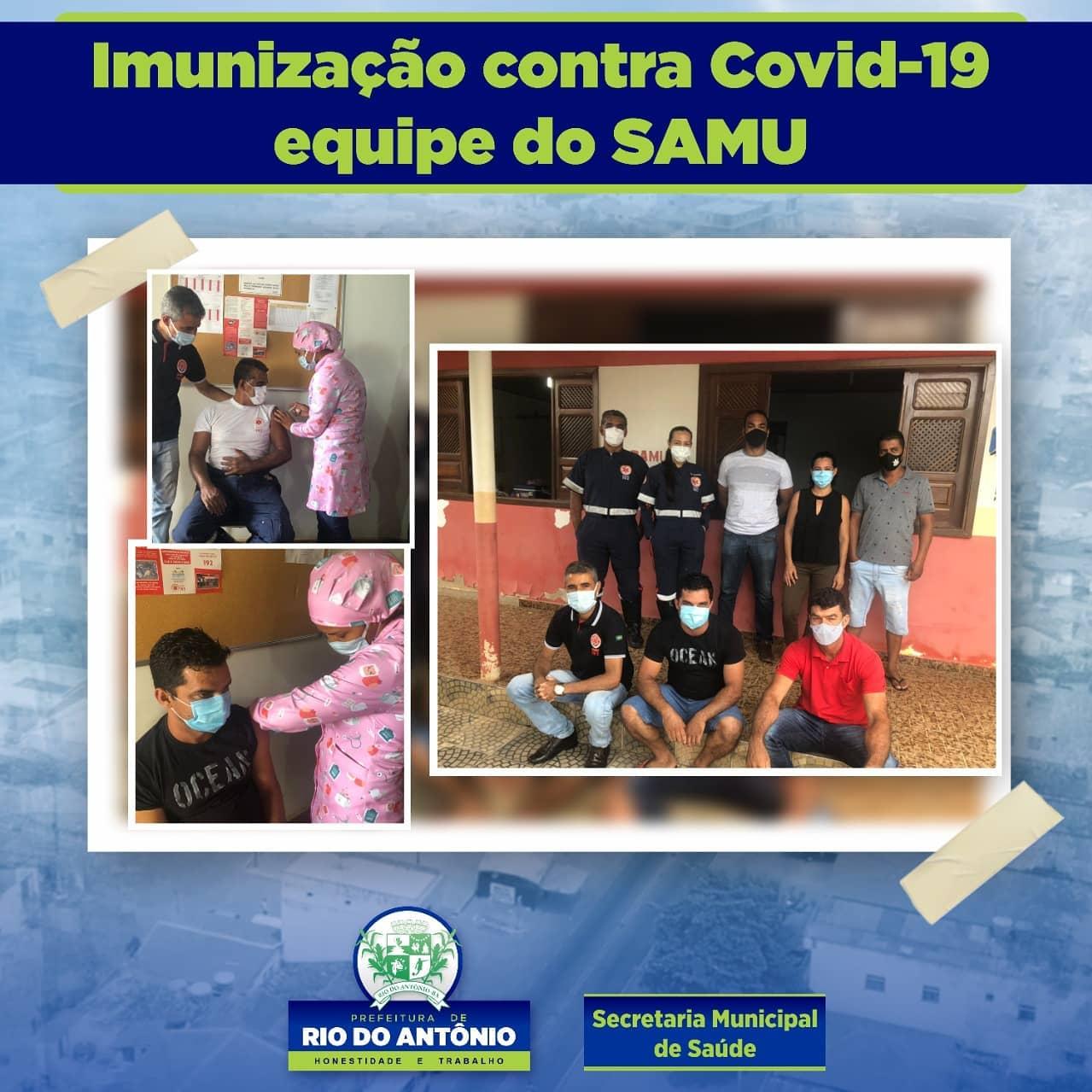 Rio do Antônio: Equipe do Samu 192 é imunizada contra Covid-19