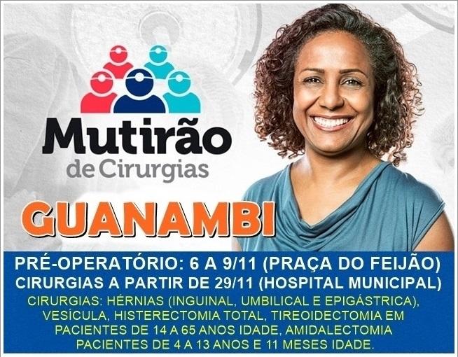 Mutirão de Cirurgias será realizado de 06 a 09 de novembro em Guanambi