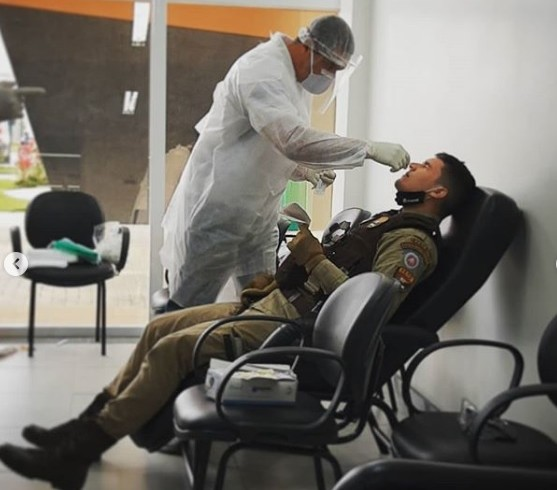 Policiais militares do sudoeste iniciam testagem para detecção da Covid-19