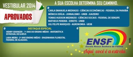 ENSF divulga lista dos aprovados no vestibular 2014