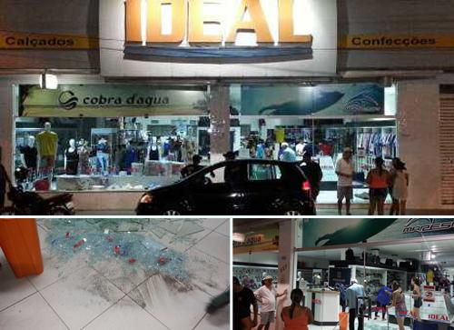 Meliantes quebram porta de vidro de loja e faz arrastão