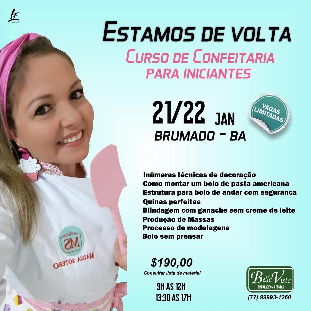 Bella Vista Embalagens realizará curso de confeitaria para iniciantes com a instrutora Madja Sotero