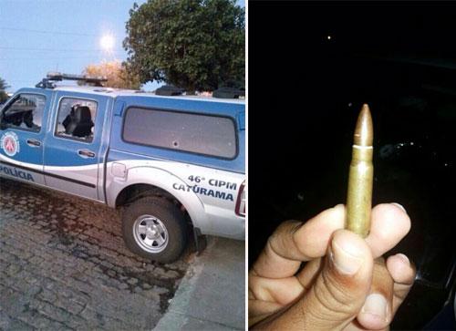 CATURAMA: Criminosos encurralam policiais, alvejam viatura e explodem Caixas Eletrônicos
