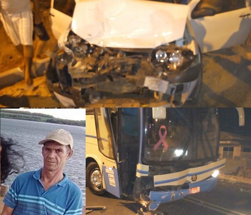 Acidente entre ônibus e carro de passeio deixa uma vítima fatal em Paramirim