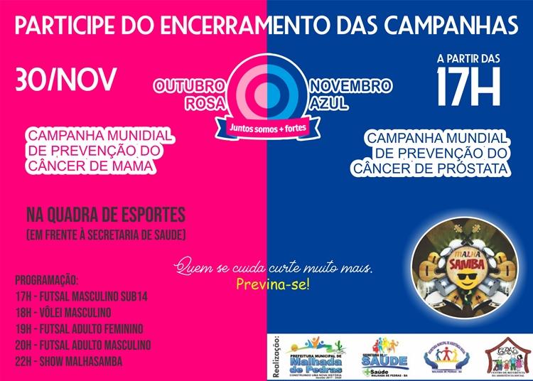 Prefeitura de Malhada de Pedras realizará evento de encerramento das campanhas Outubro Rosa e Novembro Azul
