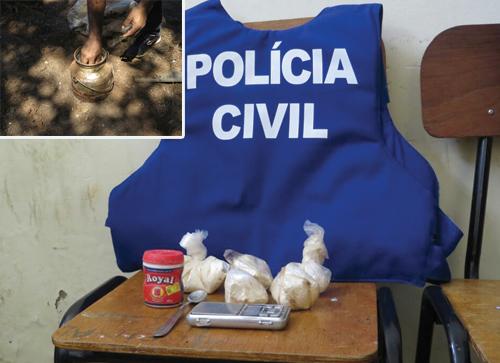 Polícia descobre drogas enterradas em propriedade na Zona Rural