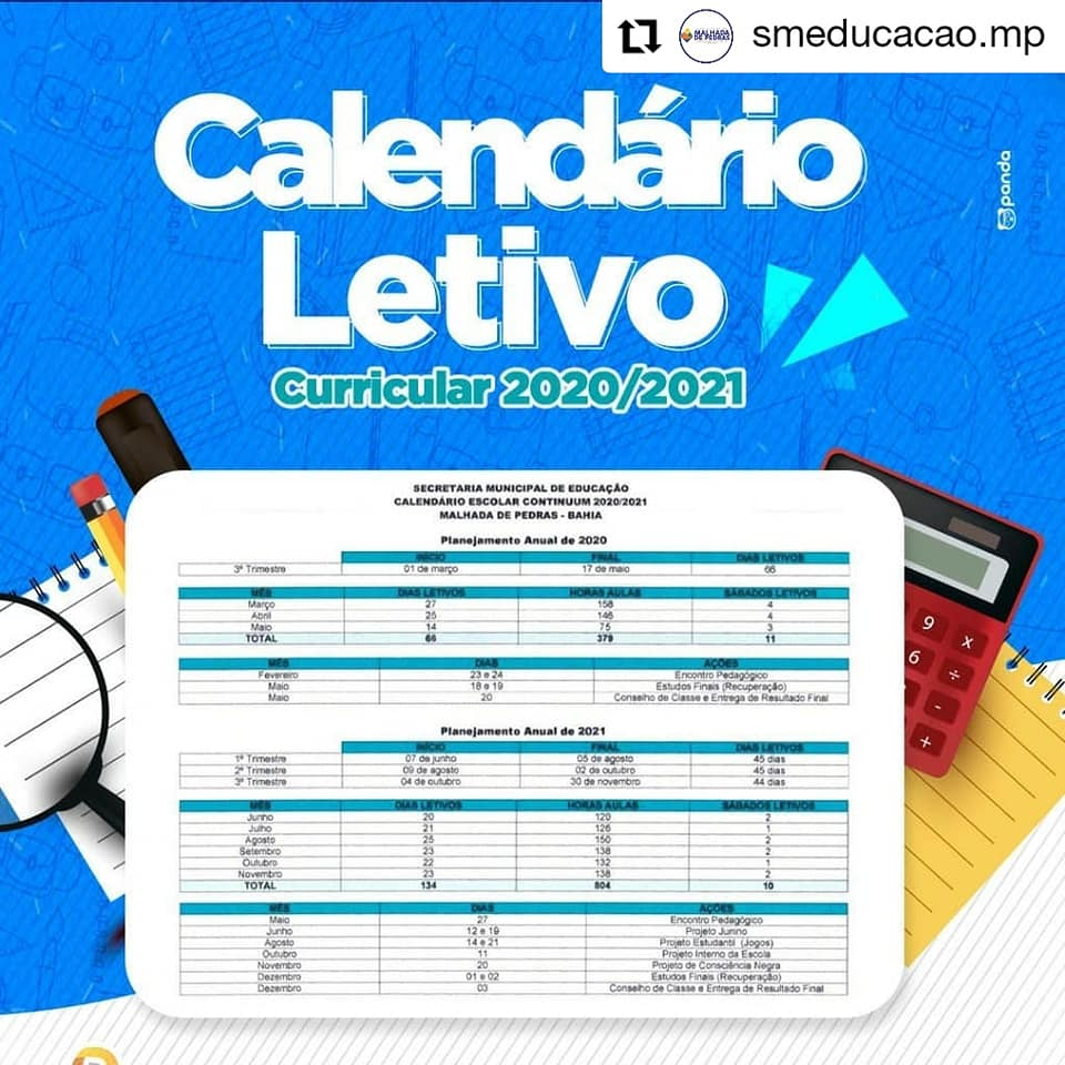 Malhada de Pedras: Secretaria Municipal de Educação divulga calendário letivo para o 2020/2021