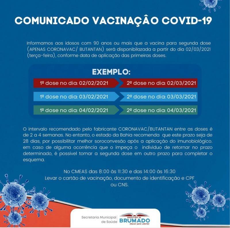 Brumado: Idosos acima de 90 anos receberão segunda dose de vacina Covid-19 de 02 a 04 de março