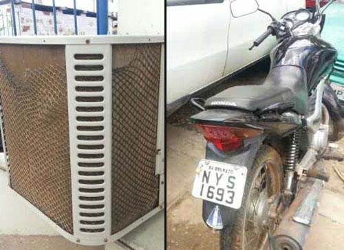 Polícia recupera ar condicionado e motocicleta no fim de semana