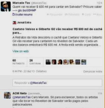 Tas questiona cachê de Gil e Caetano; ACM Neto reitera que valor será pago por patrocinadores