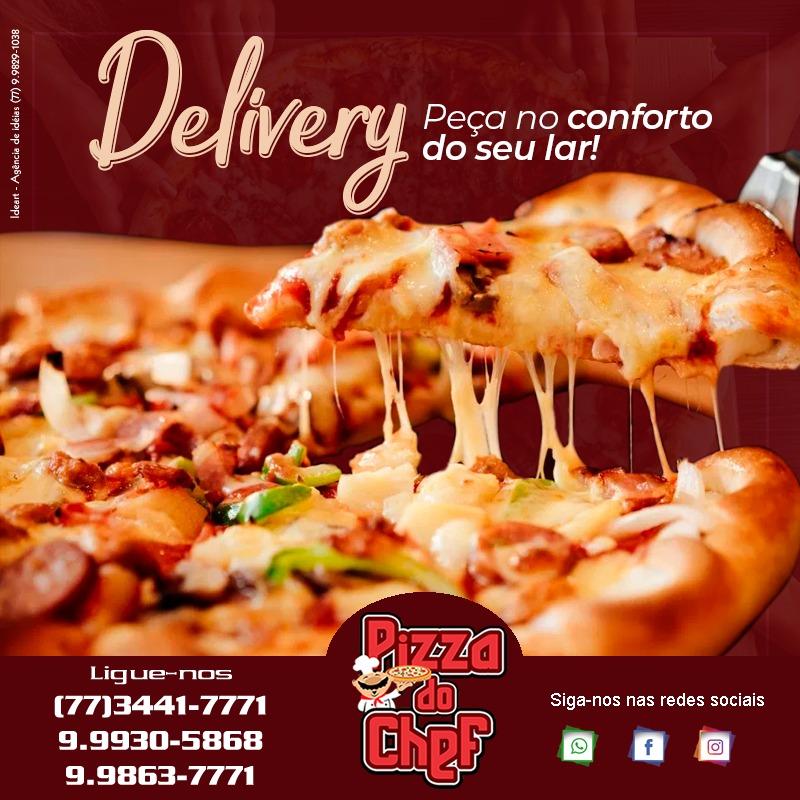 Peça sua pizza na Pizzaria do Chef e aproveite os preços baixos e promoções especiais