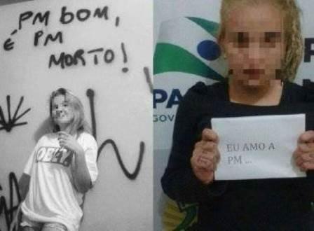 Paraná: Jovem posta foto ofensiva à PM e é obrigada a posar com frase em apoio à polícia