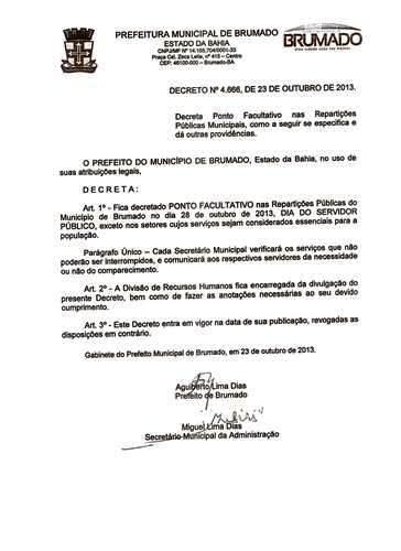 28 de outubro dia do Funcionário Público prefeito decreta ponto facultativo