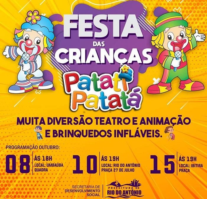 Prefeitura de Rio do Antônio realiza eventos em comemoração ao Dia das Crianças a partir desta sexta (08)