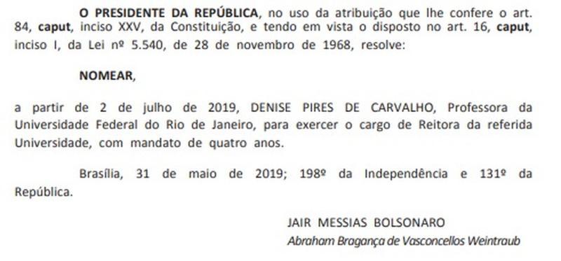Nomeação da primeira mulher para Reitoria da UFRJ é publicada no Diário Oficial