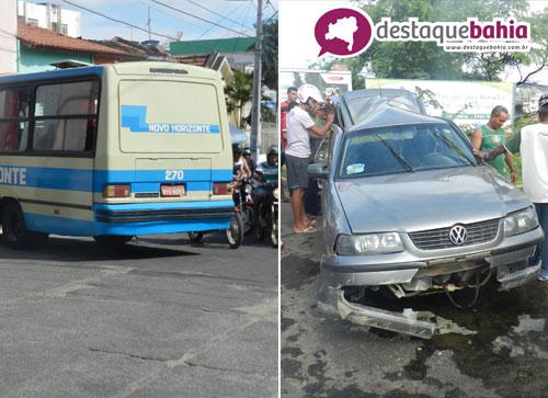 Ônibus da empresa novo horizonte perde freio e causa acidente no centro da cidade