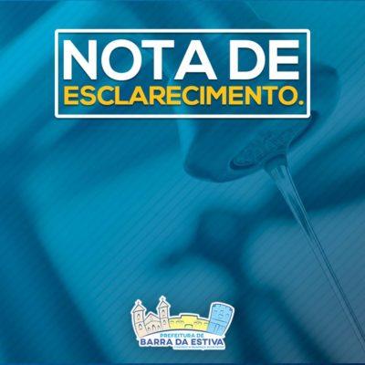 Prefeitura de Barra da Estiva emite comunicado de possíveis desabastecimentos de água em alguns bairros