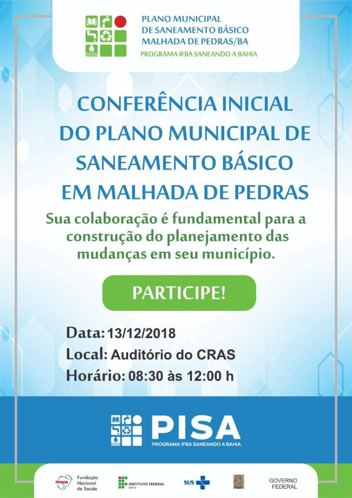 Conferência do Plano Municipal de Saneamento Básico será realizada em Malhada de Pedras