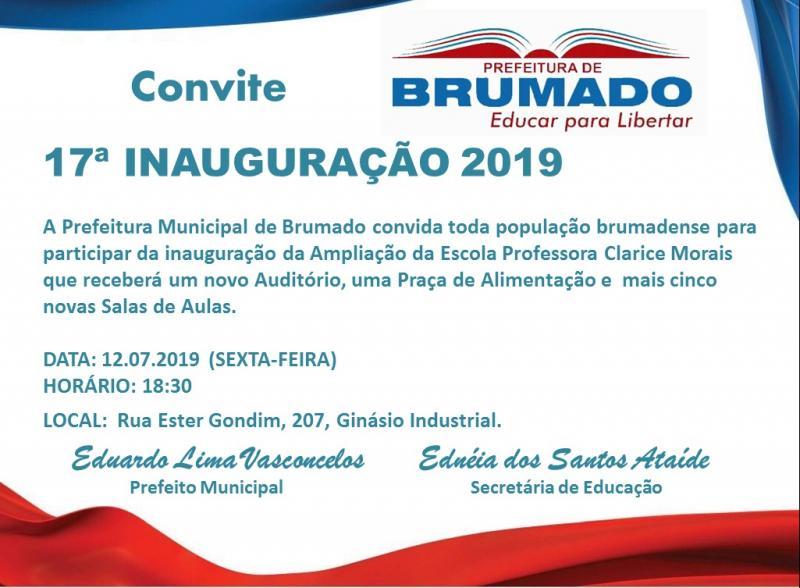 Prefeitura de Brumado convida população para inauguração da ampliação da Escola Clarice Morais